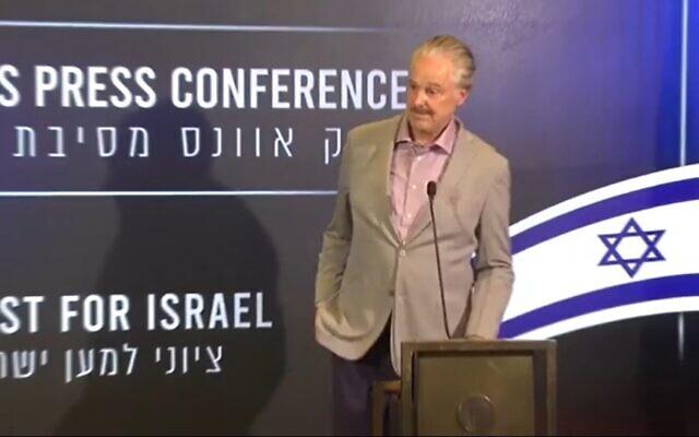 US evangelical leader Mike Evans speaks at a press conference in Jerusalem on June 7, 2021 (Screen capture/YouTube)