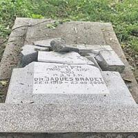 The aftermath of vandalism at the Jewish cemetery of Ploesti, Romania, June 2021. (MCA Romania via JTA)
