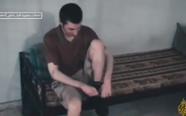 Gilad Shalit is seen during his time in Hamas captivity, in footage aired for the first time on June 6, 2021 (video screenshot)