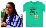Schlep & Schmoe founder Shoshana Weiss, with one of her T-shirt designs pictured at right. (Courtesy)