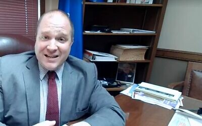Wisconsin state rep. Shae Sortwell in a Facebook video posted Tuesday. (screen capture: Facebook)