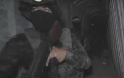 Footage aired by the Al Jazeera network of the Hamas tunnel system under the Gaza Strip, June 5, 2021 (Screen grab)