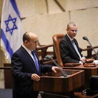 Prime minister-designate Naftali Bennett addresses the Knesset, June 13, 2021 (Noam Moskowitz/Knesset)