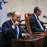 Prime Minister-designate Naftali Bennett addresses the Knesset on June 13, 2021 (Noam Moskowitz/Knesset)
