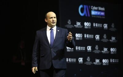 Israeli PM Naftali Bennett speaking at the Cyber Week conference in Tel Aviv on July 21, 2021 (Chen Galili, Tel Aviv University)