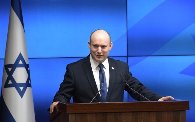 Prime Minister Naftali Bennett speaks on July 6, 2021. (GPO)