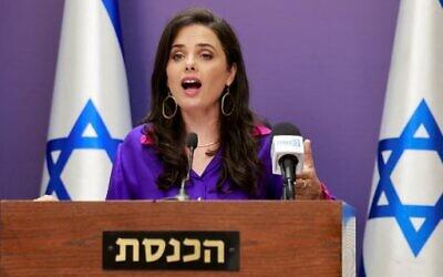 Israeli Interior Minister Ayelet Shaked gives a statement at the Knesset in Jerusalem on July 5, 2021. (Photo by Menahem KAHANA / AFP)
