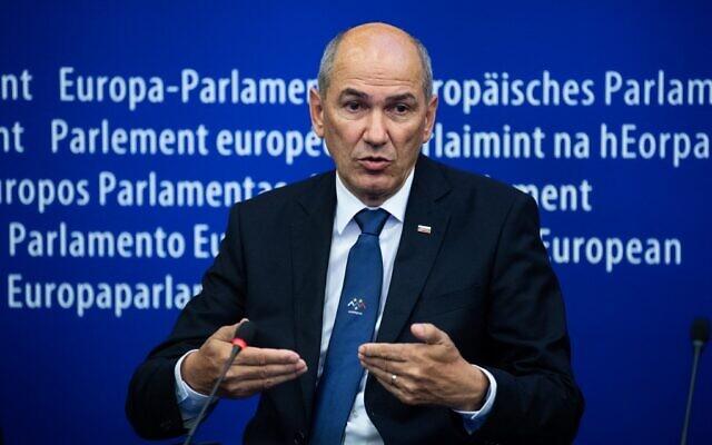 Slovenian Prime Minister Janez Jansa attends a press conference at the European Parliament in Strasbourg, France, on July 6, 2021. (Patrick Hertzog/AFP)