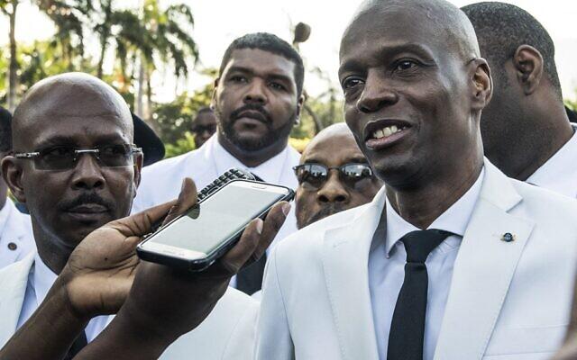 Haitian President Jovenel Moises speaks to the press in Port-au-Prince on October 17, 2019, (Valerie Baeriswyl / AFP)