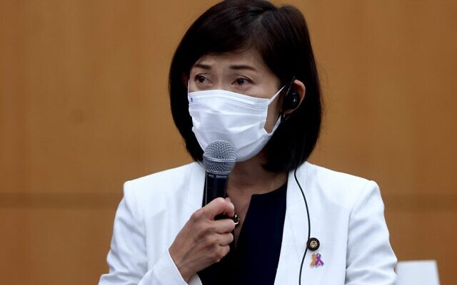 Tokyo Olympics Minister Tamayo Marukawa speaks during a meeting in Tokyo on July 8, 2021. (Behrouz Mehri/Pool/AFP)