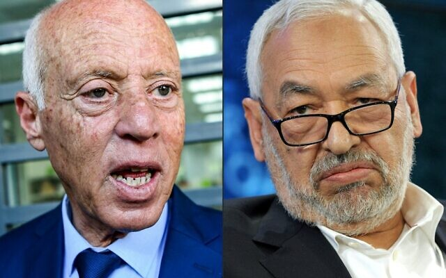 This combination of file pictures created on July 26, 2021 shows Tunisian President Kais Saied (L) at an electoral campaign tour in the capital Tunis on September 10, 2019 and Ennahdha Islamist Party founder Rached Ghannouchi addressing the World Economic Forum in Davos on January 24, 2014 (FETHI BELAID and Eric PIERMONT / AFP)