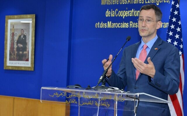Senior US State Department official Joey Hood holds a press conference duing his visit to Rabat, Morocco, on July 28, 2021. (Stringer/AFP)