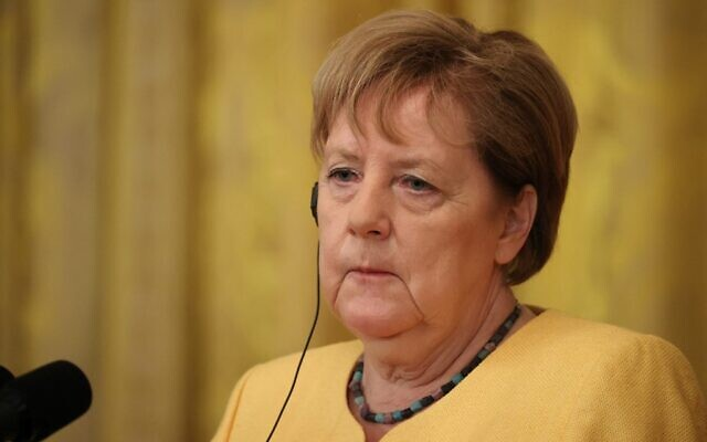 German Chancellor Angela Merkel listens during a joint news conference with US President Joe Biden in the East Room of the White House on July 15, 2021 in Washington, DC. (Photo by CHIP SOMODEVILLA / GETTY IMAGES NORTH AMERICA / Getty Images via AFP)