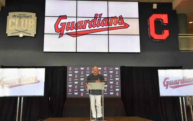 Manager Terry Francona of the Cleveland Indians talks to members of the media during a press conference announcing the name change from the Cleveland Indians to the Cleveland Guardians at Progressive Field, on July 23, 2021, in Cleveland, Ohio. (Jason Miller/Getty Images/AFP)