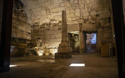 Remains of the magnificent 2000-year-old building recently excavated and due to be opened to the public as part of the Western Wall Tunnels Tour in Jerusalem's Old City. (Yaniv Berman/Israel Antiquities Authority)