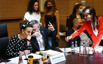 Lawmakers during an Arrangements Committee meeting at the Knesset, July 12, 2021. (Noam Moskowitz/ Knesset spokesperson's office)