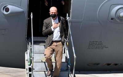 US Deputy Assistant Secretary for Israel and Palestinian Affairs Hady Amr lands at Ben Gurion Airport on May 14, 2021 (US Embassy Palestinian Affairs Unit/Twitter)