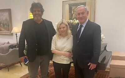 French MP Meyer Habib (L) with Sara Netanyahu (C) and Opposition Leader Benjamin Netanyahu in the prime minister's residence in Jerusalem, July 1, 2021. (Facebook)