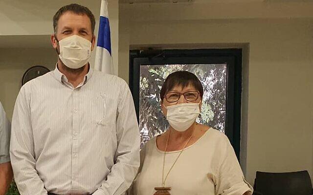 Religious Affairs Minister Matan Kahana, left, with Haya Kliger, on July 15, 2021 (Courtesy)