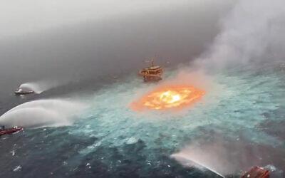 An undersea fire  is seen in the in Gulf of Mexico on June 3, 2021. (Screenshot: Twitter)
