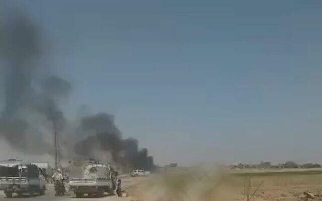 Reported footage from the scene of the alleged US drone strike in eastern Syria, on July 18, 2021. (Screenshot/Twitter)