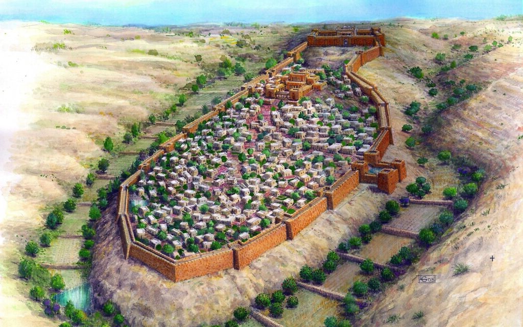 An illustration of what the protective walls surrounding Jerusalem probably looked like during the First Temple era. (Leonardo Gurevitz, City of David Archive)