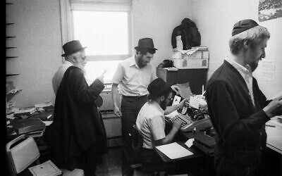 Rabbi Yoel Kahn, left, circa 1979, led teams of young scholars in the Chabad-Lubavitch Hasidic movement in the arts of memorization, repetition and transcription. (Jewish Educational Media/The Living Archive via JTA)