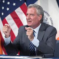 New York City Mayor Bill de Blasio holds a news briefing at City Hall, July 20, 2021. (Ed Reed/Mayoral Photography Office via JTA)