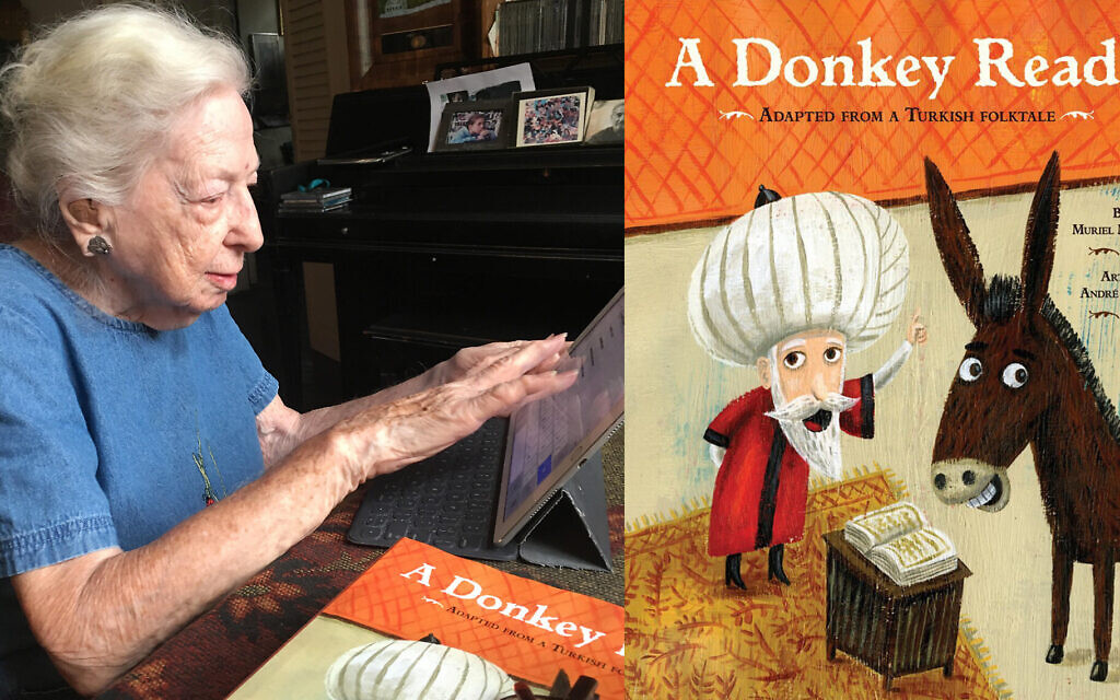 Muriel Mandell works on her iPad at her apartment in downtown Manhattan's Greenwich Village. After a career as a reporter and schoolteacher, she began writing children's books, including 'A Donkey Reads,' right. (Lori Silberman Brauner/ viaJTA)