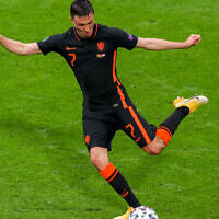 Steven Berghuis of the Netherlands during the UEFA Euro 2020 Championship Group C match between North Macedonia National Team and Netherlands National Team at Johan Cruijff Arena in in Amsterdam, Netherlands on June 21, 2021. (Marcel ter Bals/BSR Agency/Getty Images via JTA)