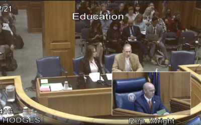 Louisiana state Rep. Valarie Hodges sits with author David Barton, who has been branded an 'extremist' by the Southern Poverty Law Center, during a May debate on a bill of Hodges' that would have mandated Holocaust education in the state. The bill, which Hodges ultimately declined to pursue after amendments, was backed by fringe figures such as Barton partially as a response to parallel efforts to legislate the teaching of other history lessons. (Screenshot from Louisiana House of Representatives/ via JTA)