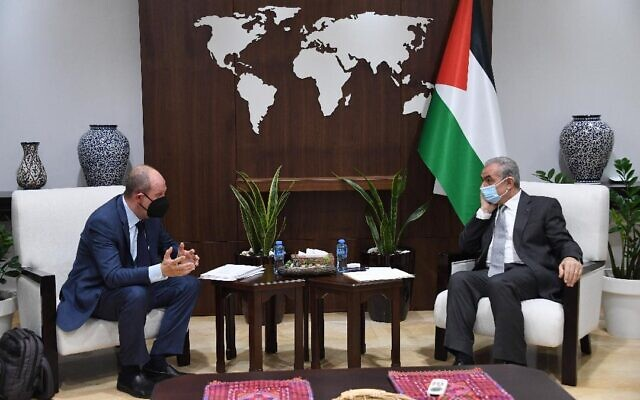 US envoy to the Israeli-Palestinian conflict Hady Amr meets in Ramallah with Palestinian Authority Prime Minister Mohammad Shtayyeh on July 13, 2021. (WAFA)