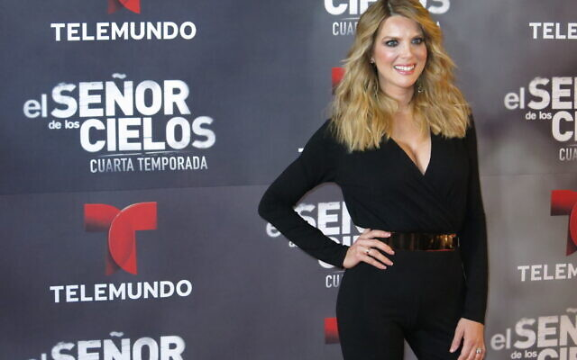 """In this March 28, 2016 photo, Colombian actress Maritza Rodríguez poses for a portrait on the red carpet for the fourth season of Telemundo's """"El senor de los cielos"""" in Mexico City. (AP Photo/Berenice Bautista)"""