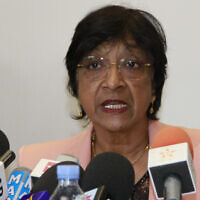 Then-UN Human Rights Commissioner Navi Pillay speaks during a press conference in Rabat, Morocco, on May 29, 2014. (AP Photo/Paul Schemm, File)