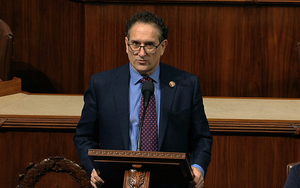 Democratic Representative Andy Levin of Michigan speaks as the US House of Representatives debates the articles of impeachment against then-president Donald Trump at the Capitol in Washington, December 18, 2019. (House Television via AP)