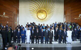 African leaders pose for a group photograph at the opening session of the 33rd African Union (AU) Summit at the AU headquarters in Addis Ababa, Ethiopia, February 9, 2020. (AP Photo)