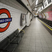 Illustrative: A platform at Oxford Circus tube station in London, on March 19, 2020. (AP Photo/Kirsty Wigglesworth)
