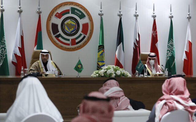 Secretary General of the Gulf Cooperation Council (GCC) Nayef Falah Al-Hajraf, left, and Saudi Foreign Minister Prince Faisal bin Farhan Al-Saud speak during a press conference during the 41st Gulf Cooperation Council (GCC) meeting in Al Ula, Saudi Arabia, Tuesday, Jan. 5, 2021. (AP Photo/Amr Nabil)