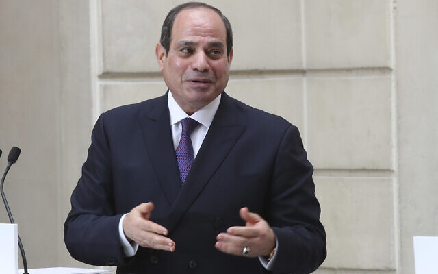 Egyptian President Abdel-Fattah el-Sissi speaks during a joint press conference with French President Emmanuel Macron at the Elysee palace, Monday, December 7, 2020 in Paris. (AP Photo/Michel Euler, File)