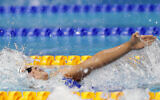Israel's Anastasia Gorbenko competes to win the women's 200 meters individual medley finals at the European Aquatics Championships in Duna Arena in Budapest, Hungary, Saturday, May 22, 2021. (AP/Petr David Josek)