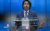 Canada's Prime Minister Justin Trudeau speaks during a media conference at the end of an EU-Canada summit at the European Council building in Brussels, Tuesday, June 15, 2021. (AP Photo/Francisco Seco)