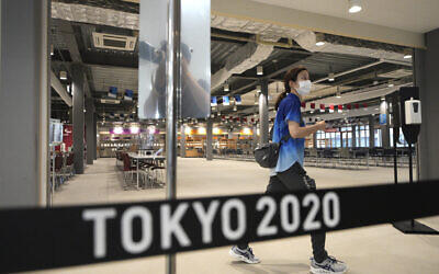 The main dining hall is seen during a press tour of the Tokyo 2020 Olympic and Paralympic Village, June 20, 2021, in Tokyo. (AP Photo/Eugene Hoshiko)
