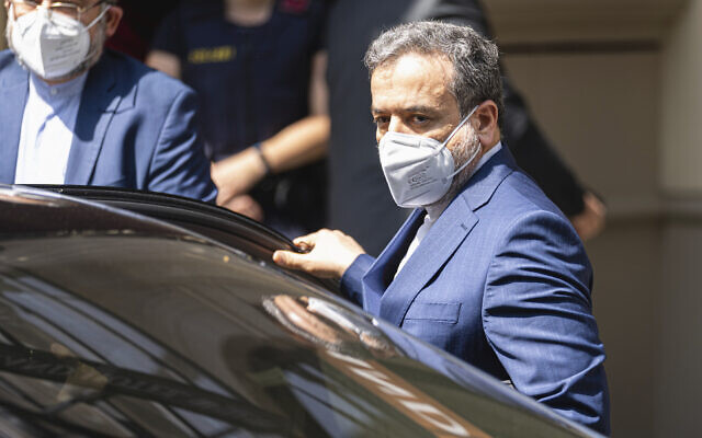 Iran's deputy foreign minister, Abbas Araghchi, arrives at the 'Grand Hotel Vienna' where closed-door nuclear talks are taking place in the Austrian capital, on June 20, 2021. (AP Photo/Florian Schroetter)