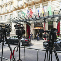 TV cameras in front of the 'Grand Hotel Vienna' where closed-door nuclear talks take place in Vienna, Austria, Sunday, June 20, 2021. (AP/Florian Schroetter)