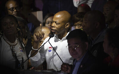 Mayoral Candidate Eric Adams speaks at his election party in New York, June 22, 2021. (Kevin Hagen/AP)
