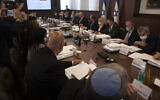 Prime Minister Naftali Bennett chairs the weekly cabinet meeting in Jerusalem, June 27, 2021.(AP Photo/Maya Alleruzzo, Pool)