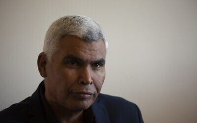 Lawmaker Said al-Harumi pauses during an interview at his office at the Knesset in Jerusalem, on Monday, June 28, 2021.(AP Photo/Maya Alleruzzo)