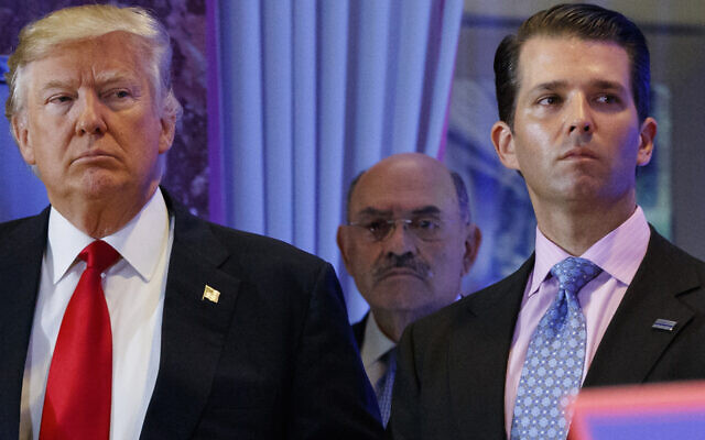 President-elect Donald Trump, left, his chief financial officer Allen Weisselberg, center, and his son Donald Trump Jr., right, during a news conference at Trump Tower in New York, January 11, 2017. (AP Photo/Evan Vucci, File)