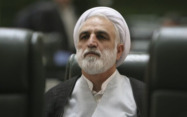 In this August 21, 2005 file photo, former Iranian Intelligence Minister Gholamhossein Mohseni Ejehi listens to a speech during a session of parliament in Tehran, Iran. (AP Photo/Vahid Salemi, File)