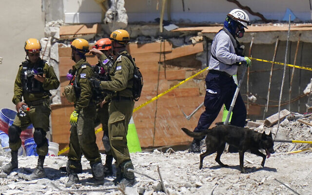 A dog aiding in the search walks past a team of Israeli search and rescue personnel, left, atop the rubble at the Champlain Towers South condominium in Surfside, Florida, on July 2, 2021. (AP Photo/Mark Humphrey, File)
